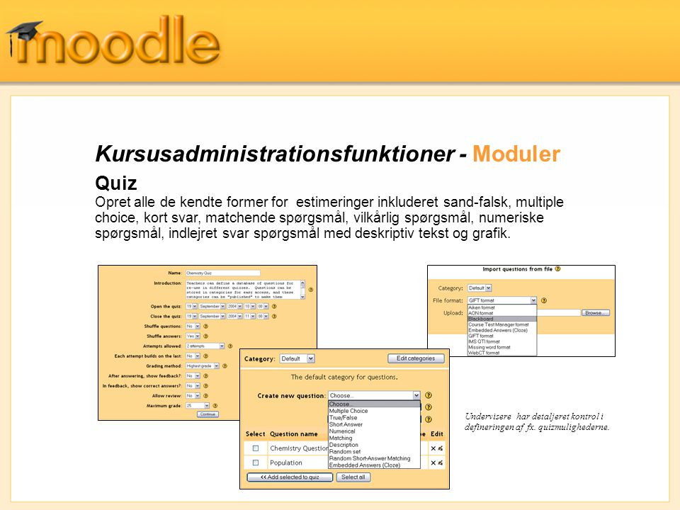 Kursusadministrationsfunktioner - Moduler