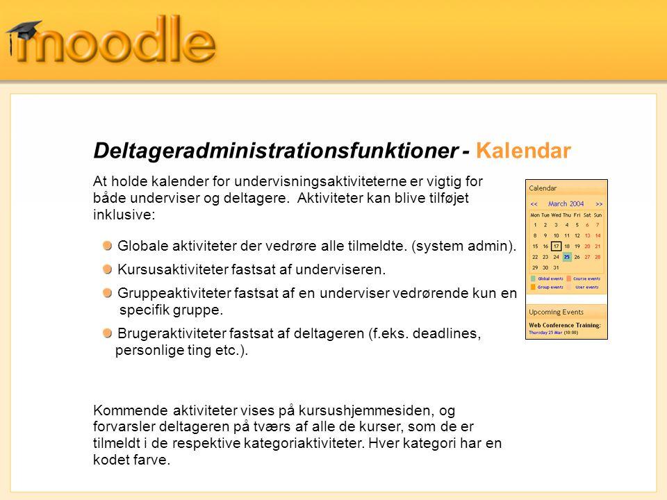 Deltageradministrationsfunktioner - Kalendar