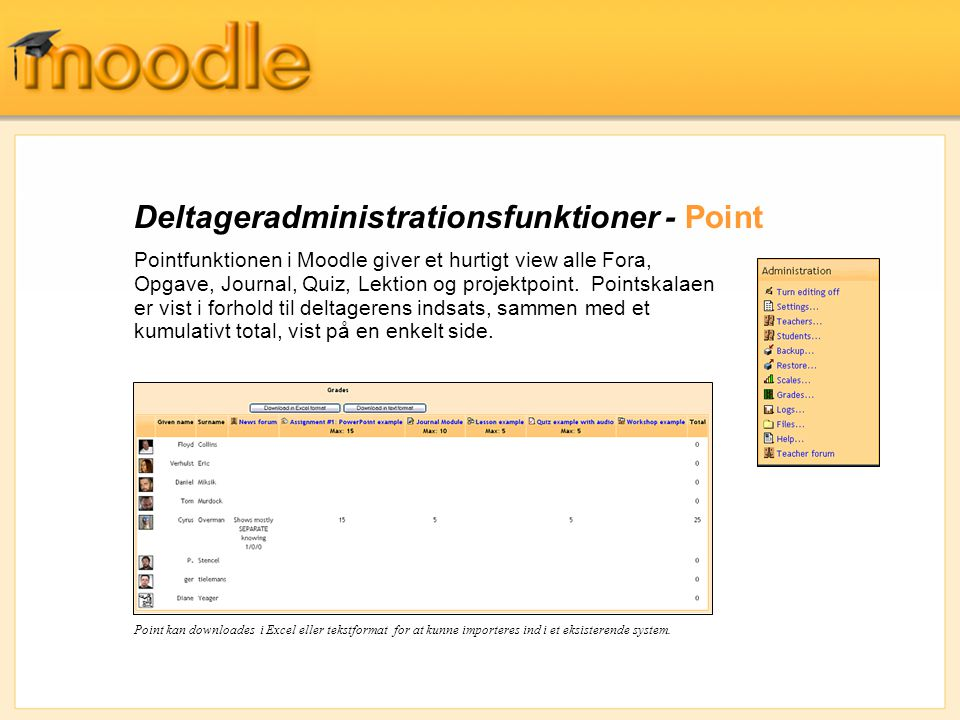 Deltageradministrationsfunktioner - Point