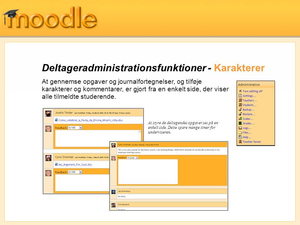 Deltageradministrationsfunktioner - Karakterer