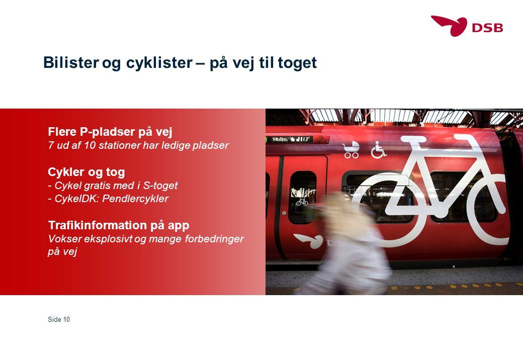 Bilister og cyklister – på vej til toget