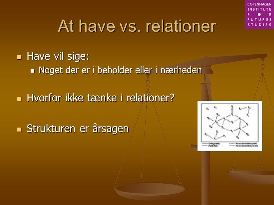 At have vs. relationer Have vil sige: Hvorfor ikke tænke i relationer