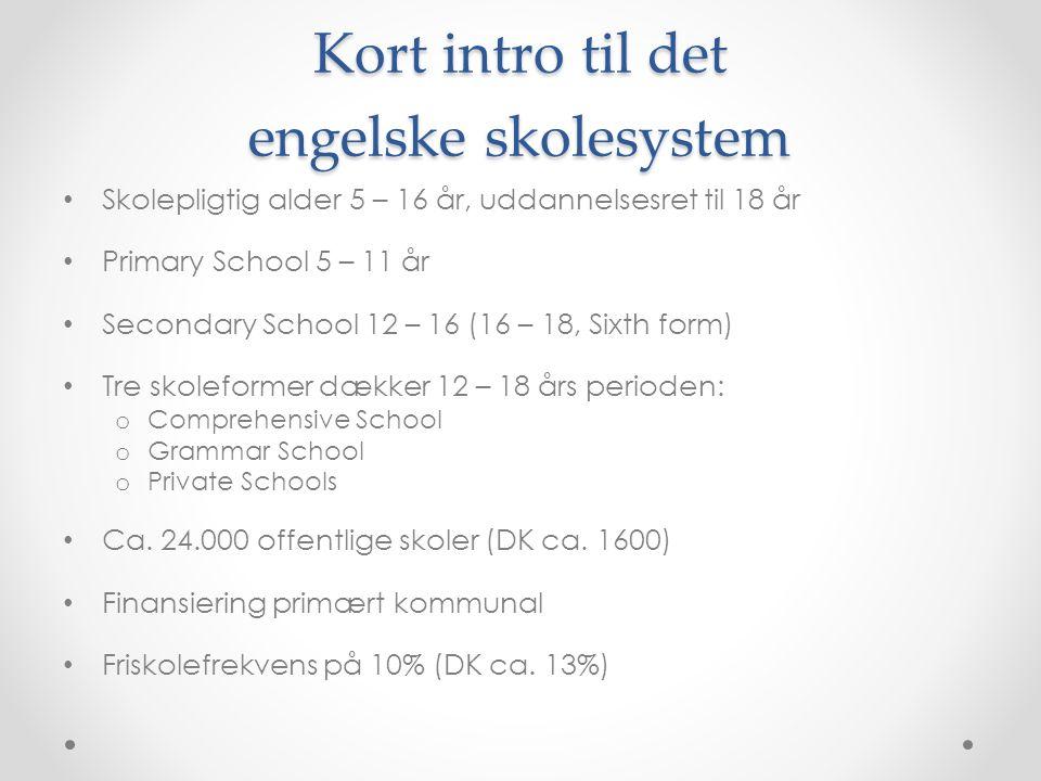 Kort intro til det engelske skolesystem