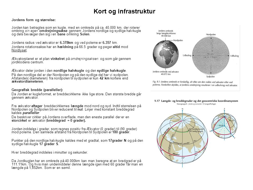 Kort og infrastruktur Jordens form og størrelse: