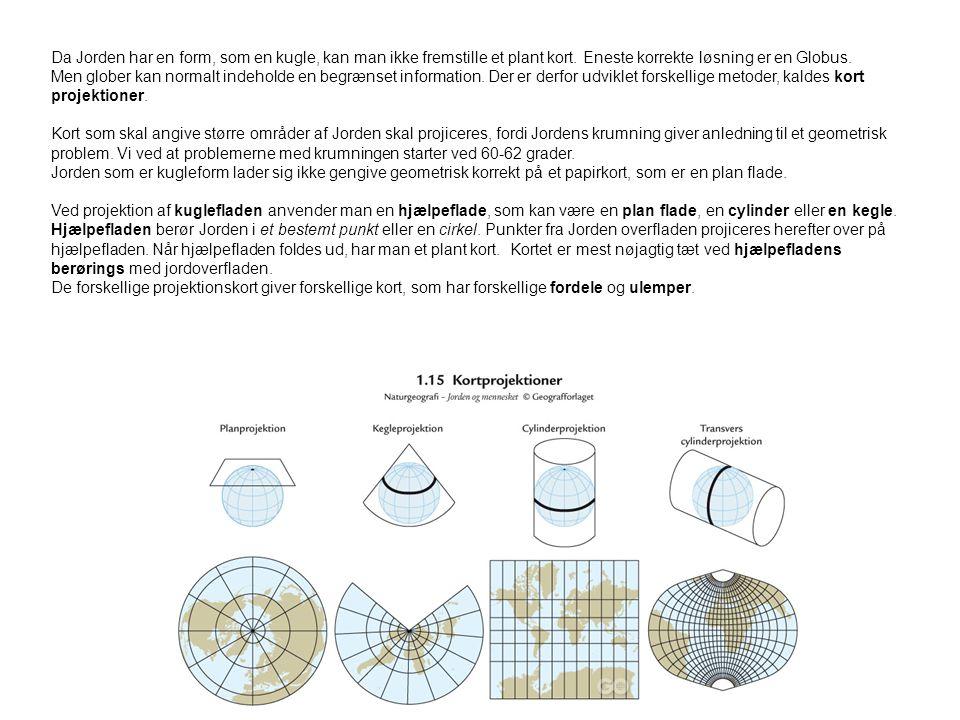 Da Jorden har en form, som en kugle, kan man ikke fremstille et plant kort. Eneste korrekte løsning er en Globus.