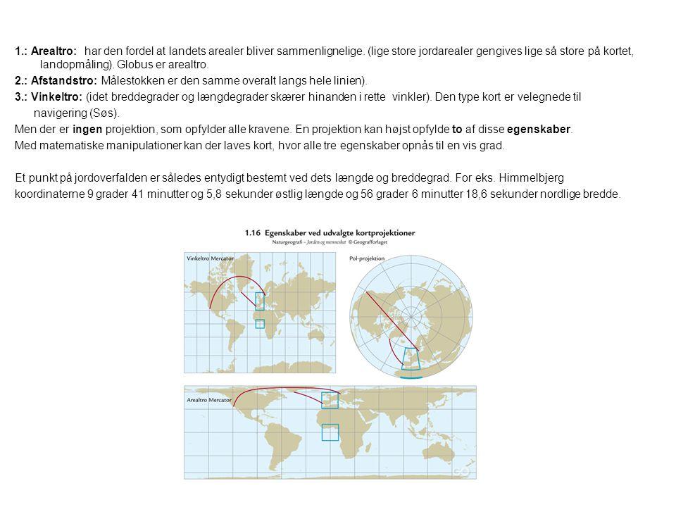 1.: Arealtro: har den fordel at landets arealer bliver sammenlignelige. (lige store jordarealer gengives lige så store på kortet, landopmåling). Globus er arealtro.