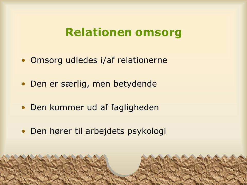 Relationen omsorg Omsorg udledes i/af relationerne