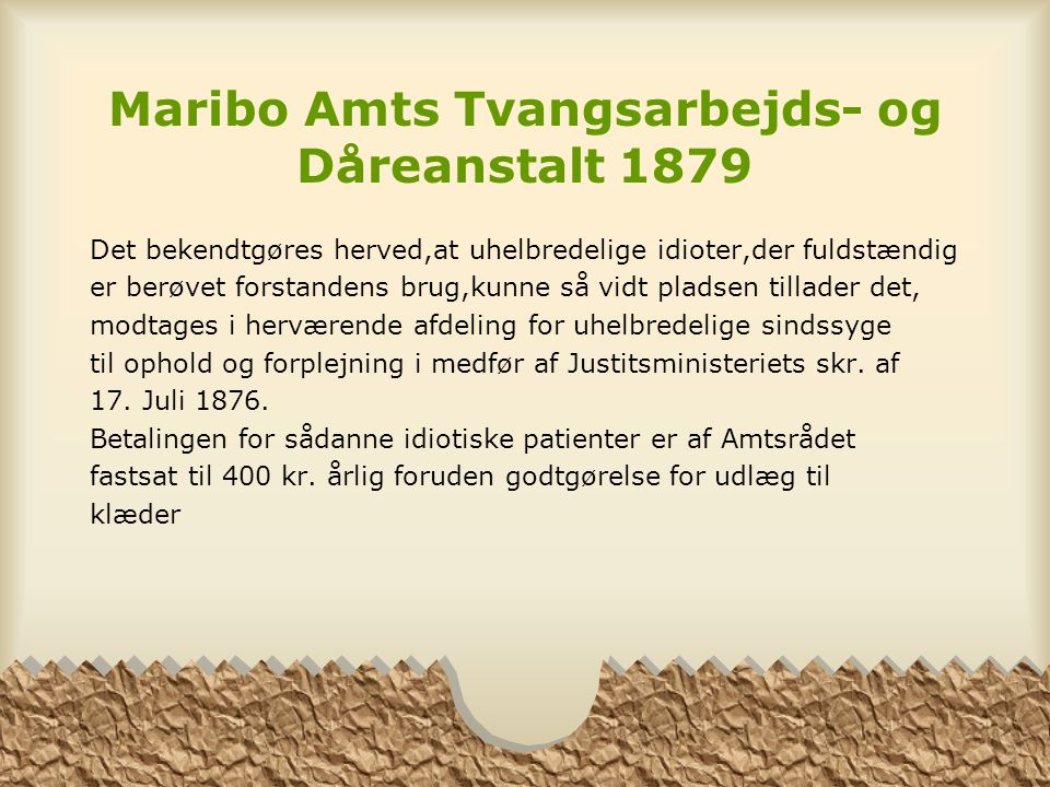 Maribo Amts Tvangsarbejds- og Dåreanstalt 1879