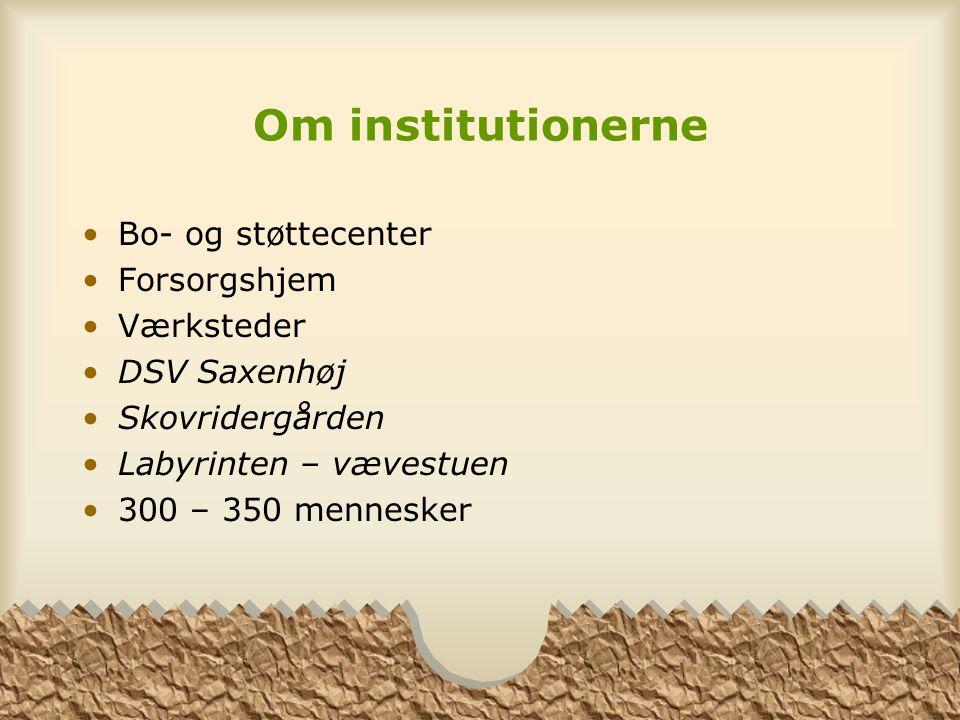 Om institutionerne Bo- og støttecenter Forsorgshjem Værksteder