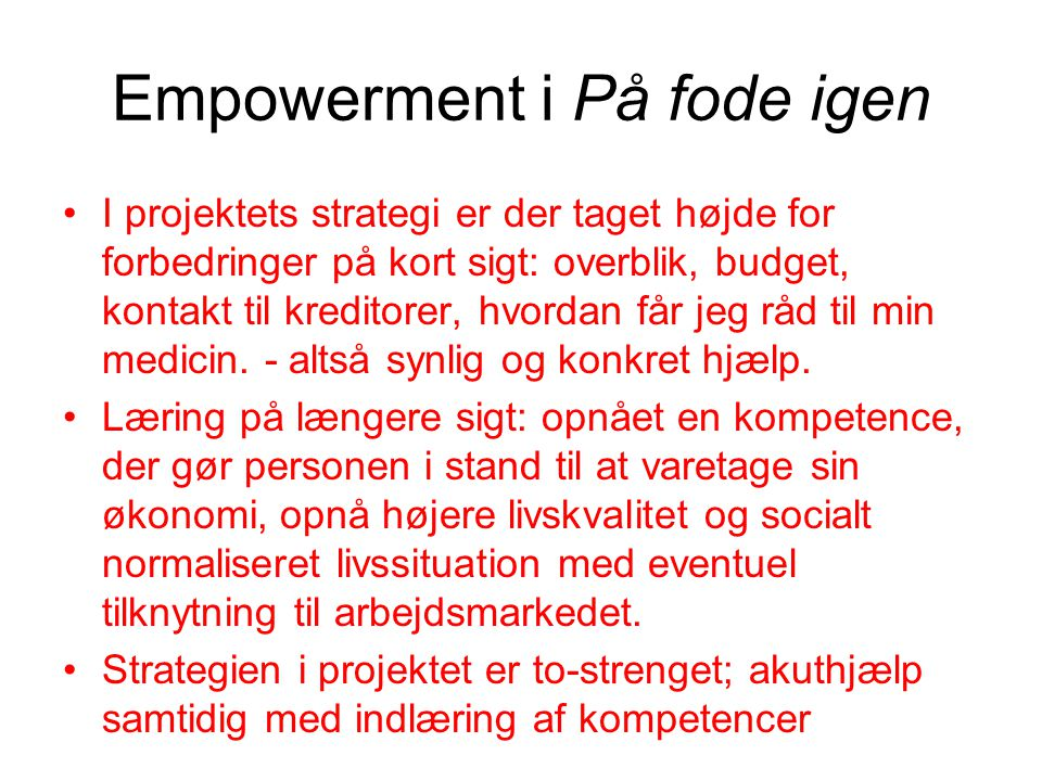 Empowerment i På fode igen