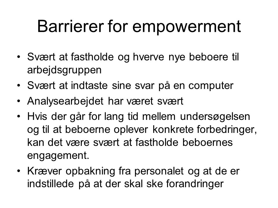 Barrierer for empowerment