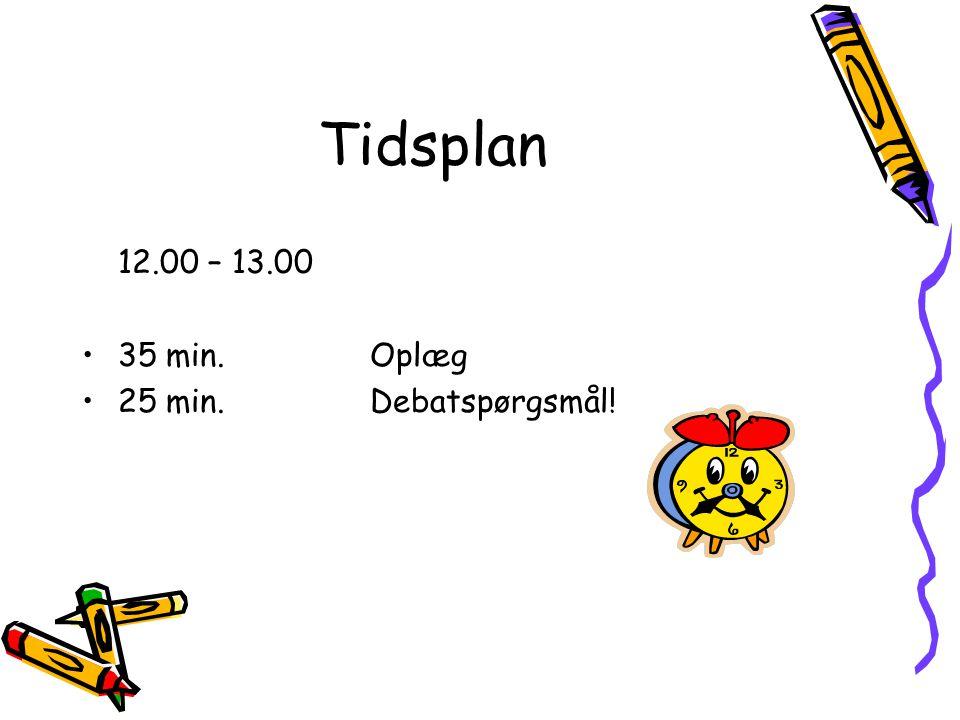 Tidsplan 12.00 – 13.00 35 min. Oplæg 25 min. Debatspørgsmål!