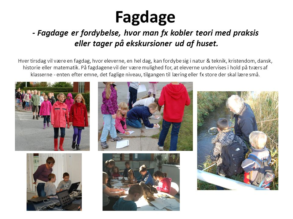 Fagdage - Fagdage er fordybelse, hvor man fx kobler teori med praksis eller tager på ekskursioner ud af huset.