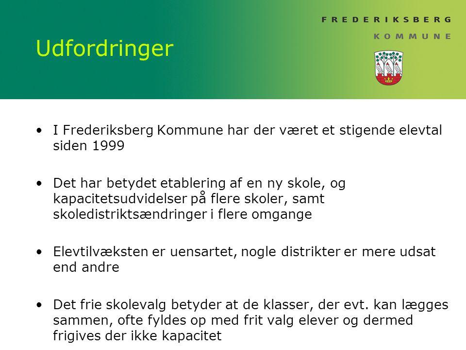 Udfordringer I Frederiksberg Kommune har der været et stigende elevtal siden 1999.