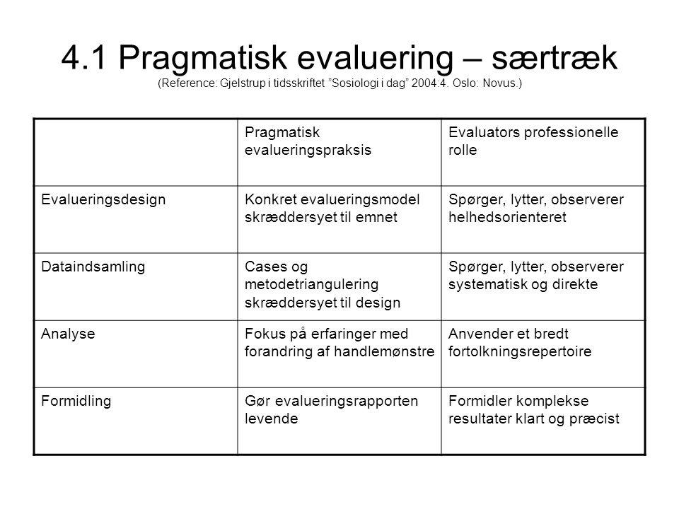 4.1 Pragmatisk evaluering – særtræk (Reference: Gjelstrup i tidsskriftet Sosiologi i dag 2004:4. Oslo: Novus.)