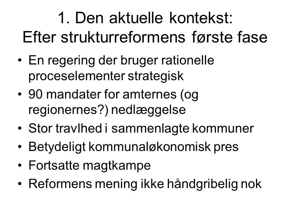1. Den aktuelle kontekst: Efter strukturreformens første fase