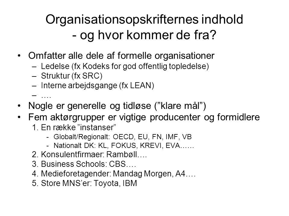 Organisationsopskrifternes indhold - og hvor kommer de fra