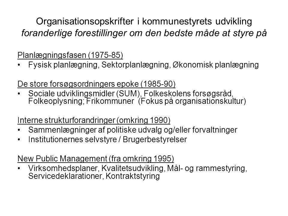 Organisationsopskrifter i kommunestyrets udvikling foranderlige forestillinger om den bedste måde at styre på