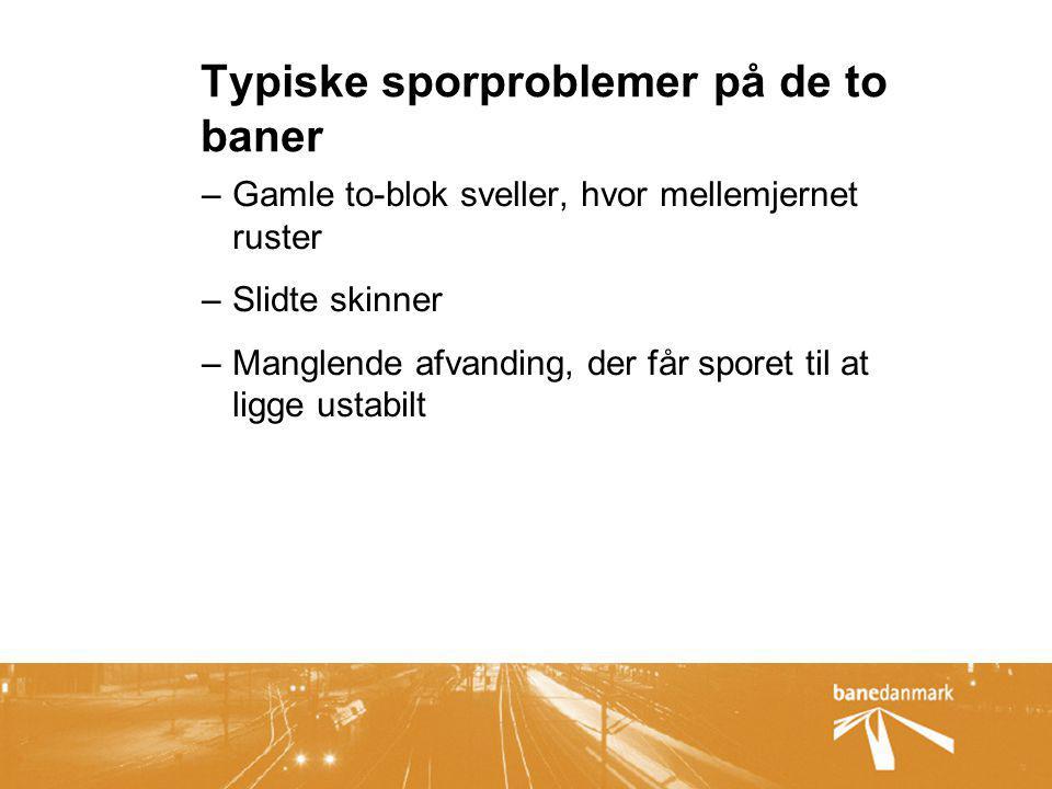 Typiske sporproblemer på de to baner