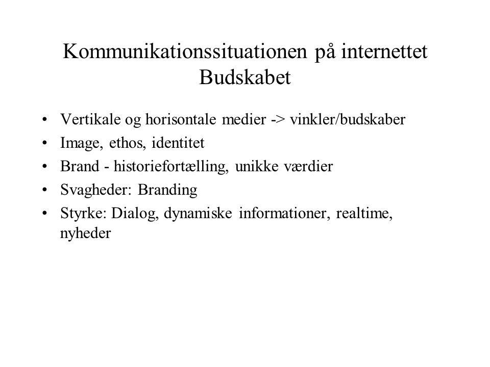 Kommunikationssituationen på internettet Budskabet