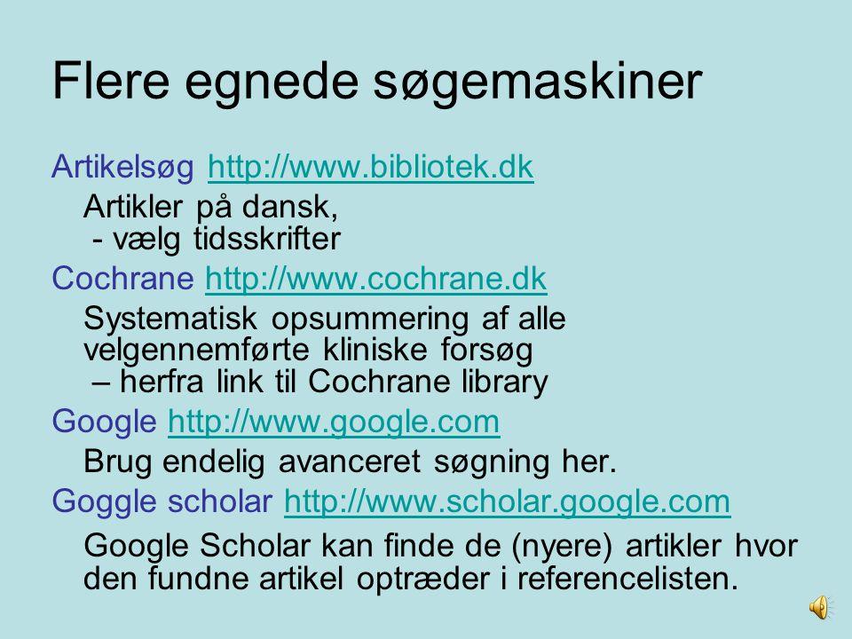Flere egnede søgemaskiner
