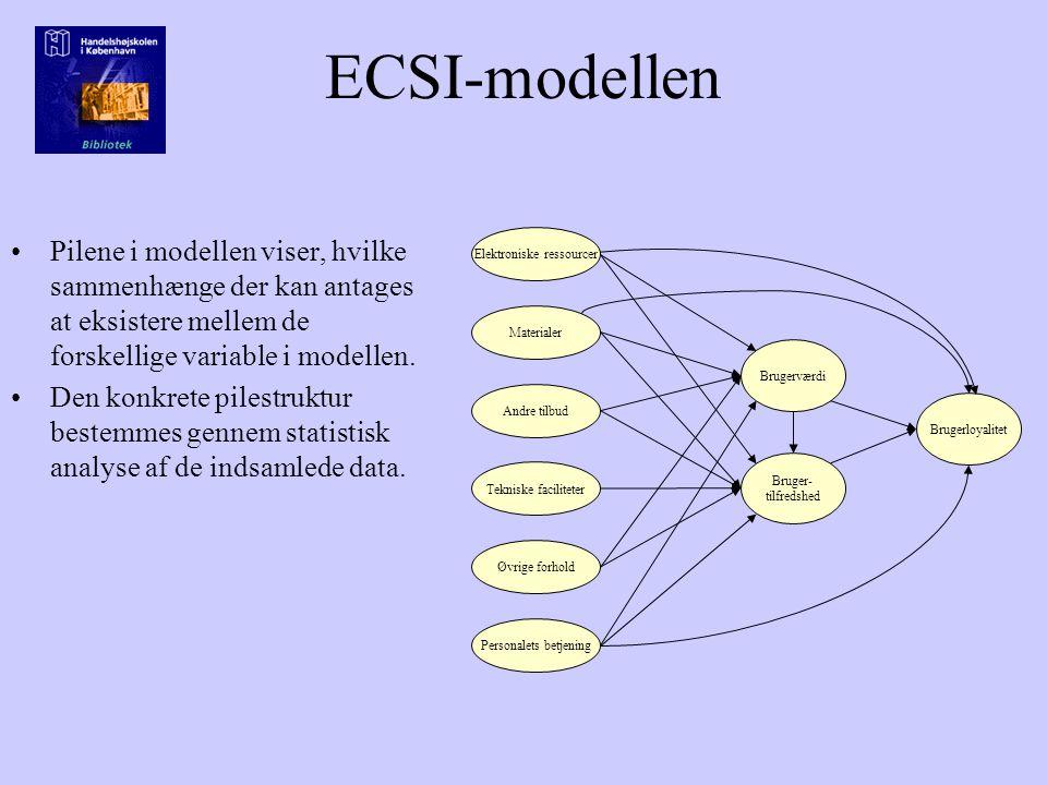 ECSI-modellen Pilene i modellen viser, hvilke sammenhænge der kan antages at eksistere mellem de forskellige variable i modellen.