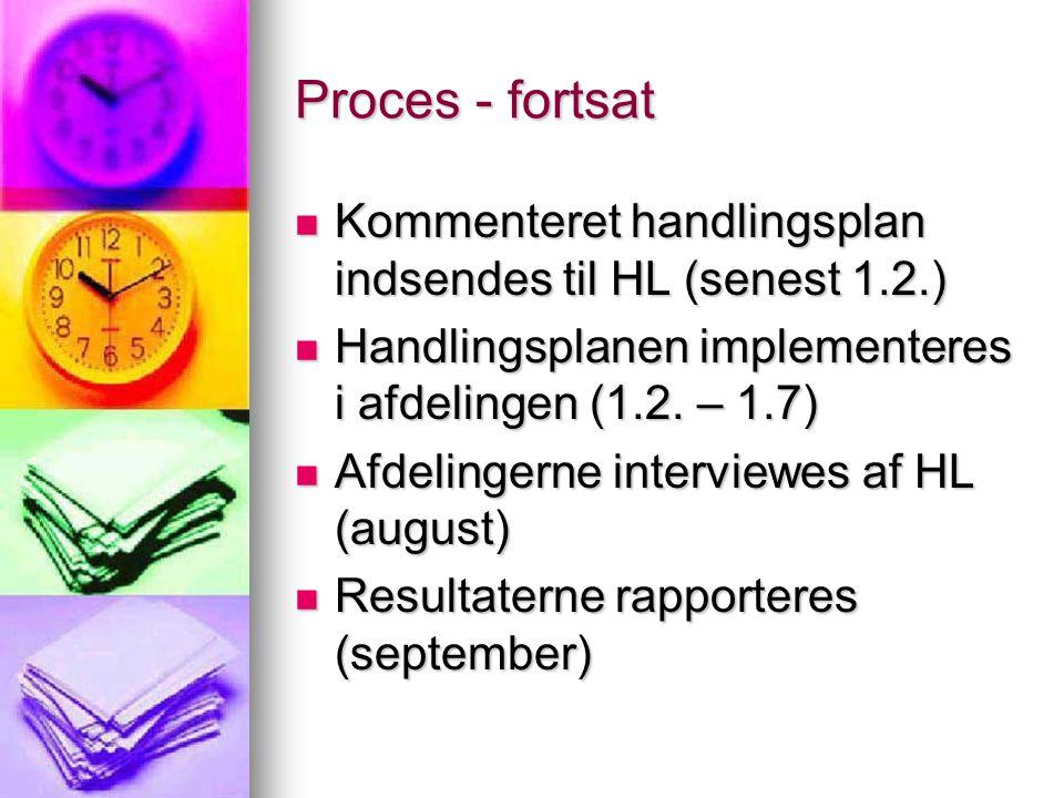 Proces - fortsat Kommenteret handlingsplan indsendes til HL (senest 1.2.) Handlingsplanen implementeres i afdelingen (1.2. – 1.7)