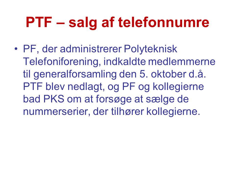 PTF – salg af telefonnumre