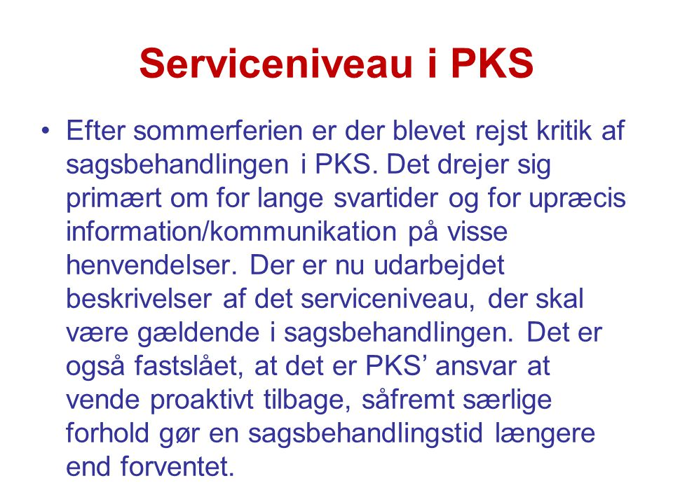Serviceniveau i PKS
