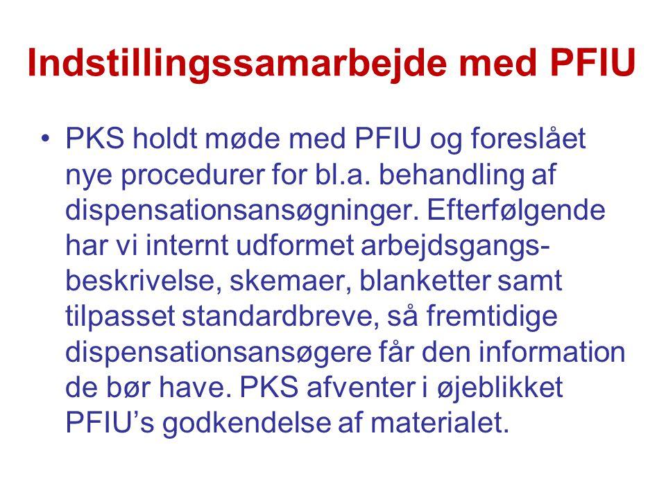 Indstillingssamarbejde med PFIU