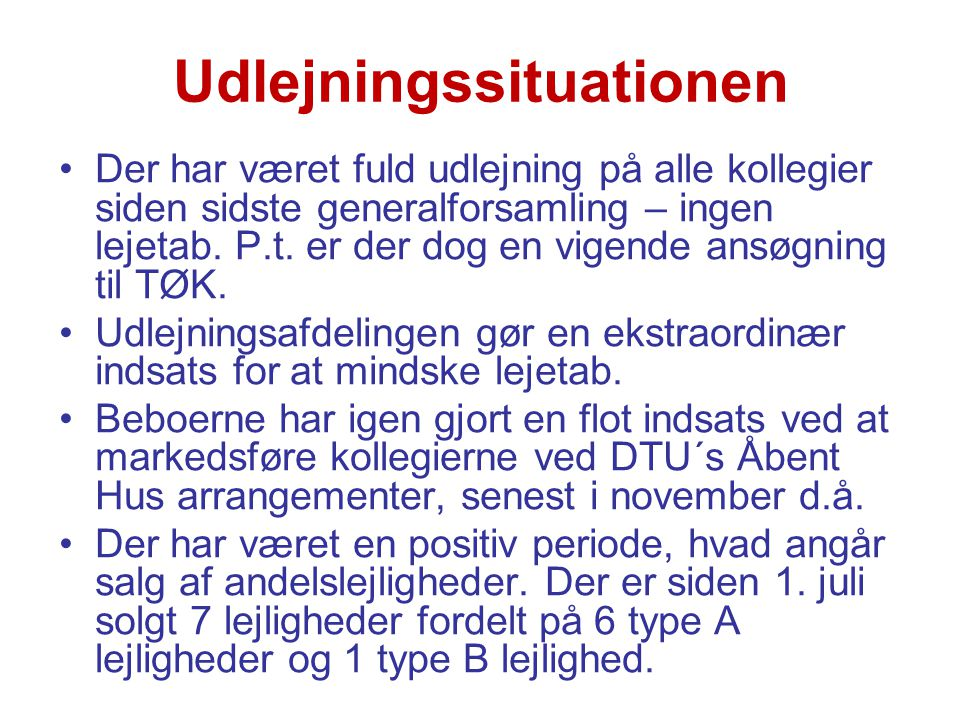 Udlejningssituationen