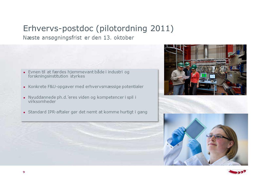 Erhvervs-postdoc (pilotordning 2011) Næste ansøgningsfrist er den 13