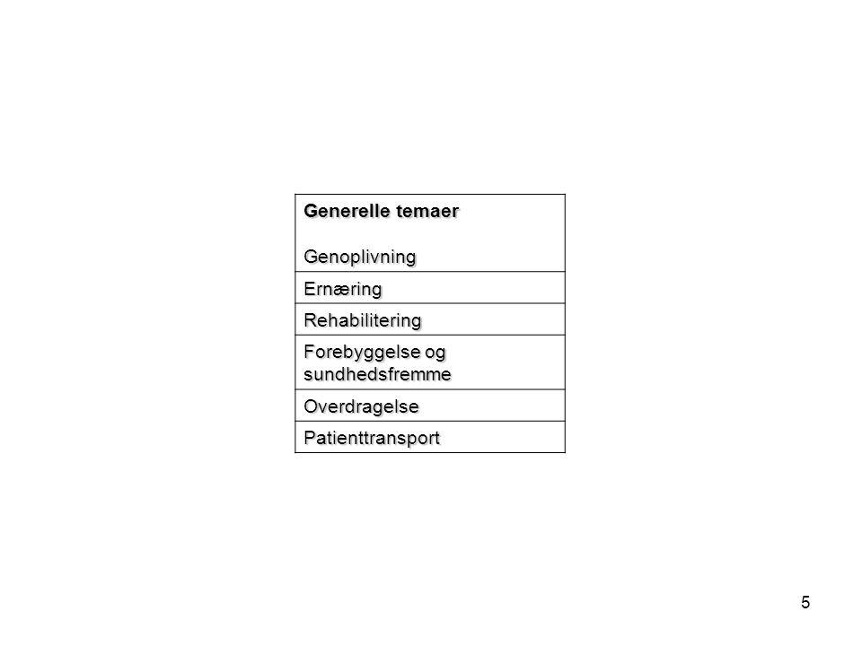 Generelle temaer Genoplivning. Ernæring. Rehabilitering. Forebyggelse og sundhedsfremme. Overdragelse.