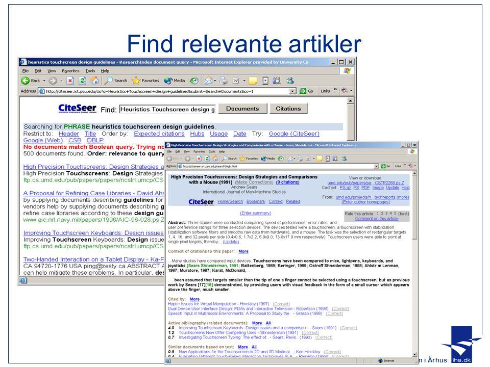 Find relevante artikler