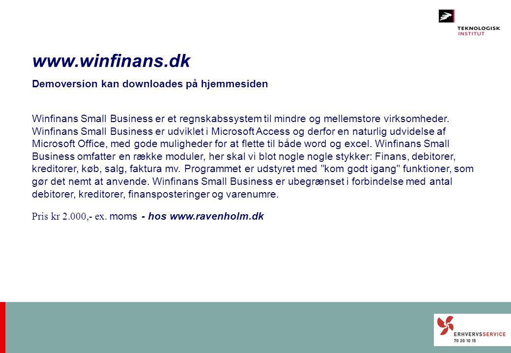 www.winfinans.dk Demoversion kan downloades på hjemmesiden