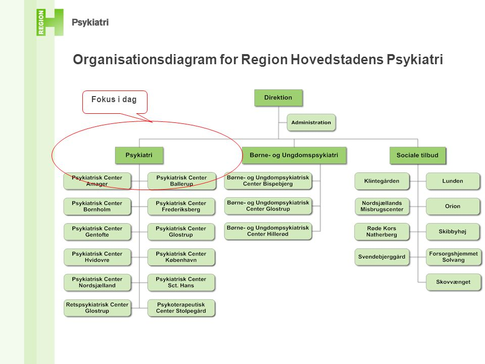 Organisationsdiagram for Region Hovedstadens Psykiatri