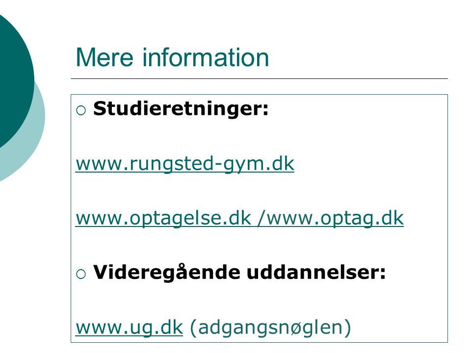 Mere information Studieretninger: www.rungsted-gym.dk