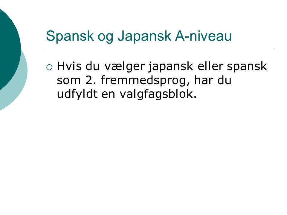 Spansk og Japansk A-niveau