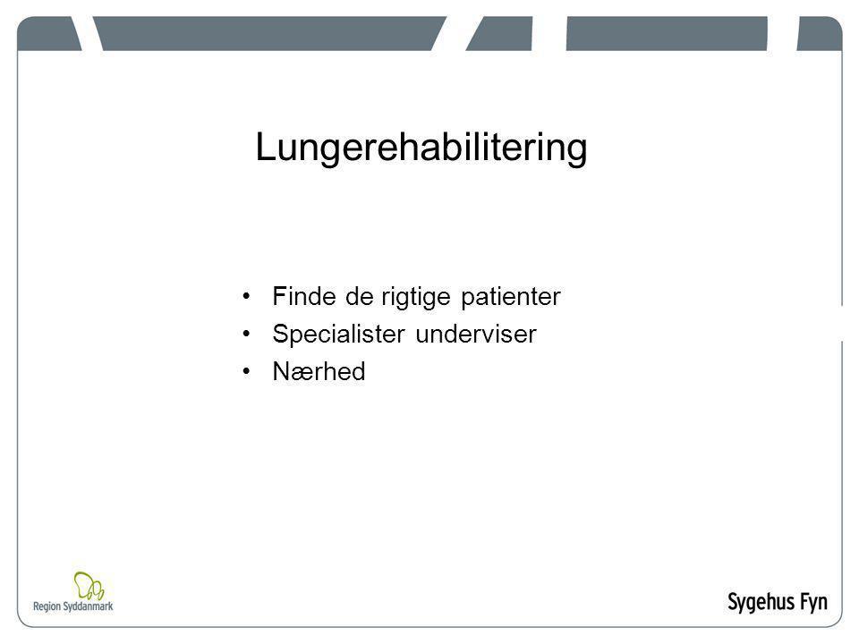 Lungerehabilitering Finde de rigtige patienter Specialister underviser