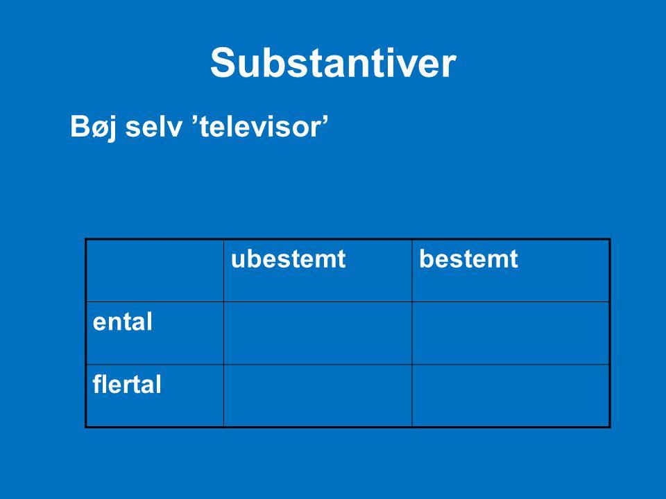 Substantiver Bøj selv 'televisor' ubestemt bestemt ental flertal