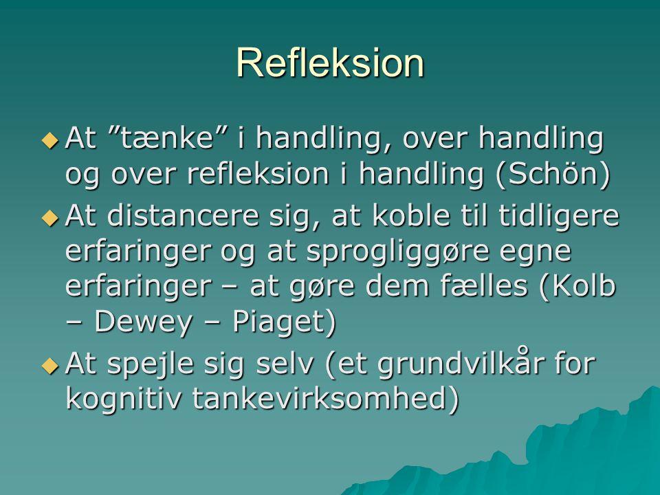 Refleksion At tænke i handling, over handling og over refleksion i handling (Schön)