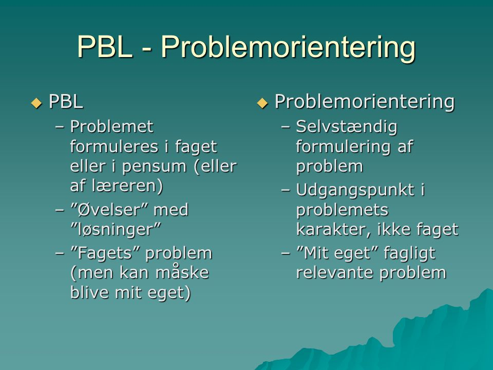 PBL - Problemorientering