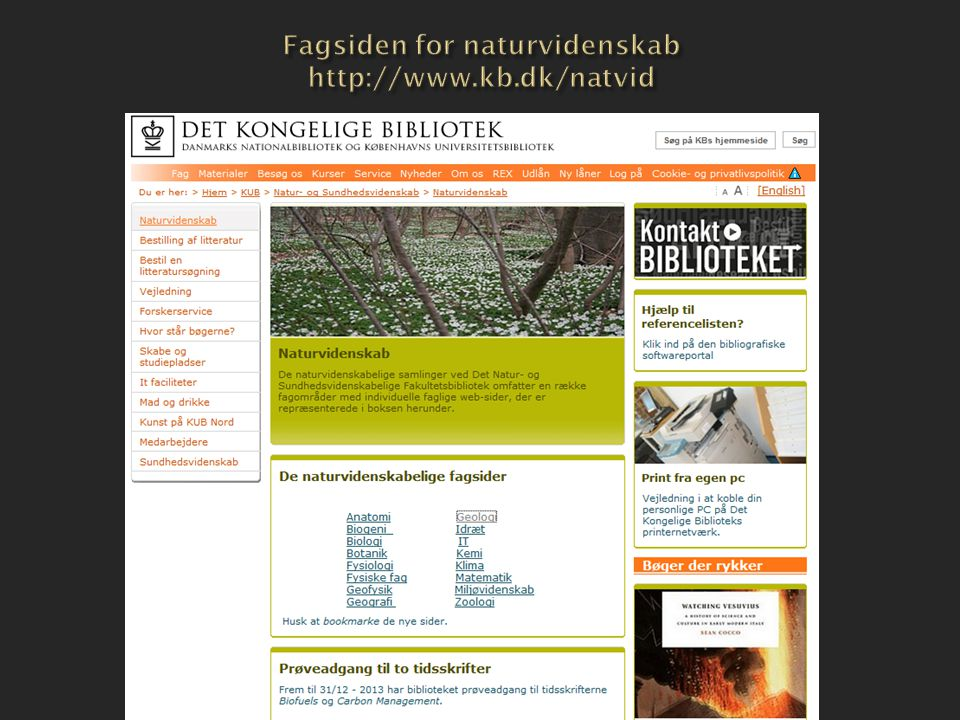 Fagsiden for naturvidenskab http://www.kb.dk/natvid