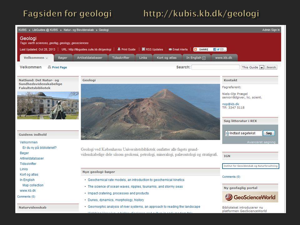 Fagsiden for geologi http://kubis.kb.dk/geologi