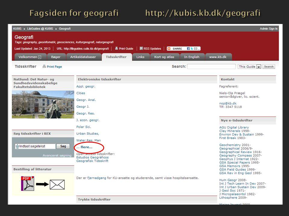 Fagsiden for geografi http://kubis.kb.dk/geografi