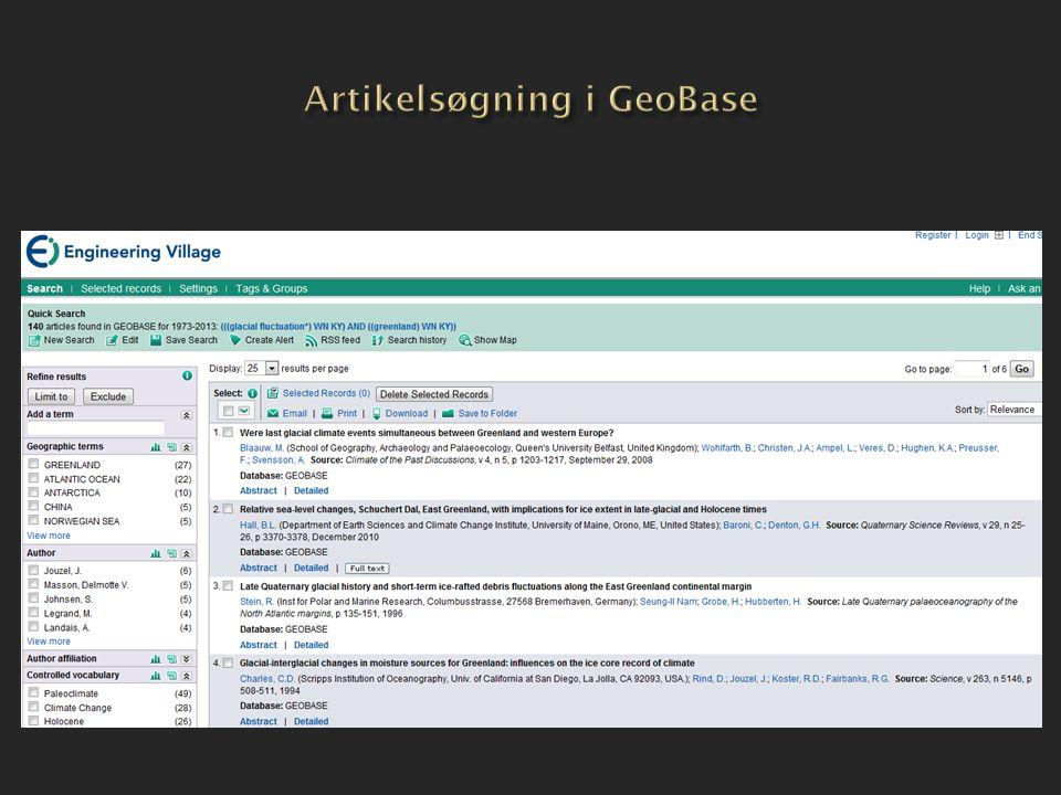 Artikelsøgning i GeoBase