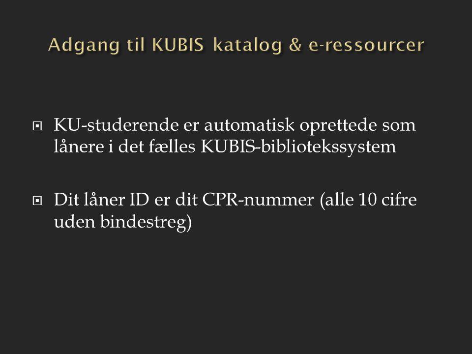 Adgang til KUBIS katalog & e-ressourcer