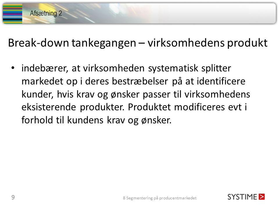 Break-down tankegangen – virksomhedens produkt