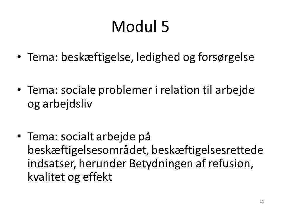 Modul 5 Tema: beskæftigelse, ledighed og forsørgelse