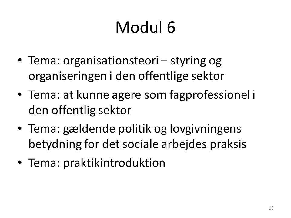 Modul 6 Tema: organisationsteori – styring og organiseringen i den offentlige sektor.